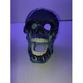Penn Plax Flaming Fire Skull Blue 3.5in