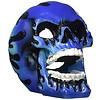 Flaming Fire Skull Blue 3.5in