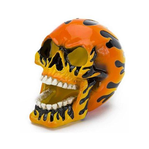 Flaming Fire Skull Orange 5in