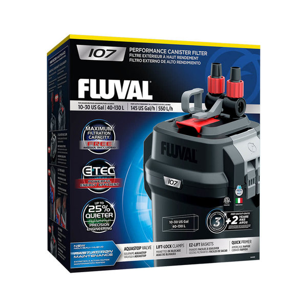 Fluval Fluval 107 Performance Canister Filter, up to 30 US Gal (130 L)
