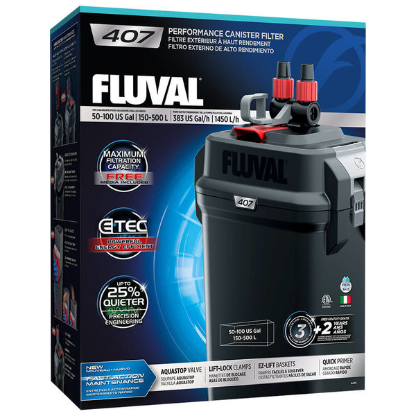 Fluval Fluval 407 Performance Canister Filter, up to 100 US Gal (500 L)