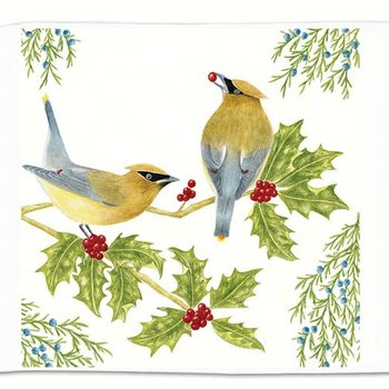 - ALICE'S COTTAGE CEDAR WAXWINGS FLOUR SACK TOWEL