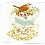 - ALICE'S COTTAGE WREN TEA CUPS FLOUR SACK TOWEL