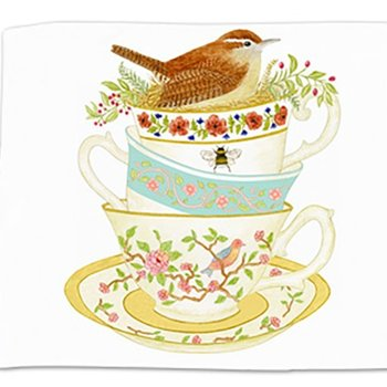 - ALICE'S COTTAGE WREN TEA CUPS FLOUR SACK TOWEL