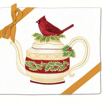 - ALICE'S COTTAGE CARDINAL TEAPOT FLOUR SACK TOWEL