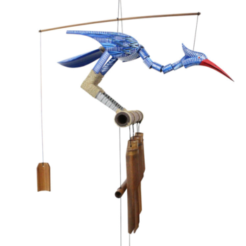 - COHASSET GIFTS HAPPY BLUE BIRD BOBBING HEADBAMBOO WIND CHIME