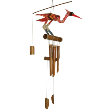 - COHASSET GIFTS SCARLET BIRD BOBBING HEAD BAMBOO WIND CHIME