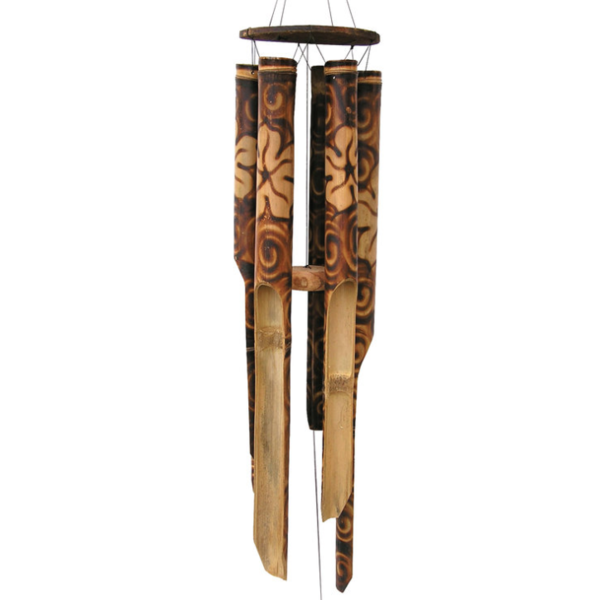 - COHASSET GIFTS BURNT FLOWER BAMBOO WIND CHIME