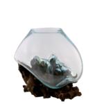 "- COHASSET GIFTS MOLTEN GLASS & WOOD SCULPTURE 8"""