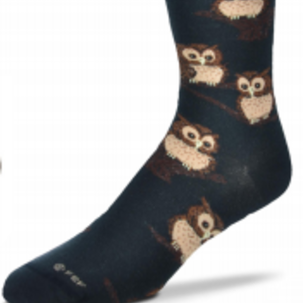 - FOR BARE FEET SOCKS OWLS ON BLACK MEDIUM