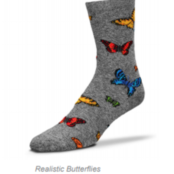 - FOR BARE FEET SOCKS REALISTIC BUTTERFLIES MEDIUM