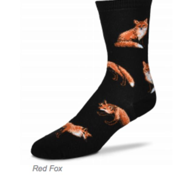- FOR BARE FEET SOCKS RED FOX ON BLACK MEDIUM