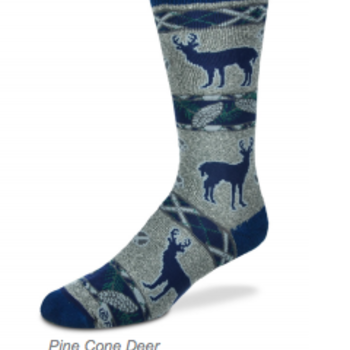 - FOR BARE FEET SOCKS PINE CONE DEER LARGE