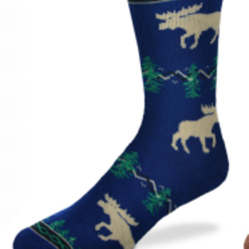 - FOR BARE FEET SOCKS MOOSE SILHOUETTE NAVY LARGE
