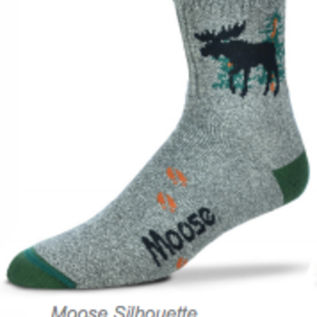 - FOR BARE FEET SOCKS MOOSE SILHOUETTE MARBLE GREY LARGE