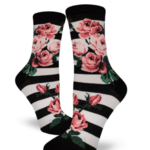 - MODSOCK ROMANTIC ROSE CREW SOCKS BLACK & WHITE STRIPE