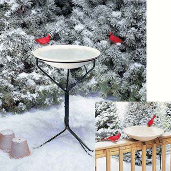 "- ALLIED 20"" HEATED BIRD BATH W/METAL STAND"