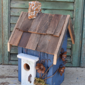 - NATURE CREATIONS BARN WOOD RUSTIC COTTAGE W/WOOD ROOF #07 BLUE