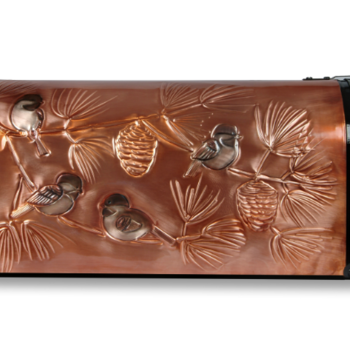 "- GREG HENTZI COPPER ETCHED MAILBOX ""CHICKADEE AND PINE BOUGHS"""