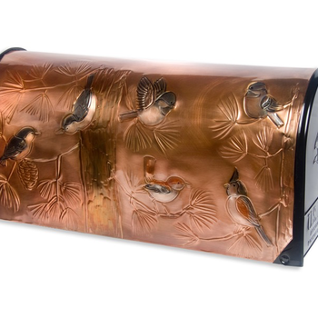 "- GREG HENTZI COPPER ETCHED MAILBOX ""WILDBIRDS"""