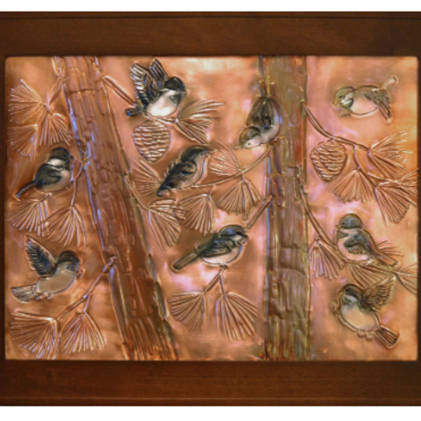 "- GREG HENTZI FRAMED COPPER ETCHING  ""COUNTRY CHICKADEES"""