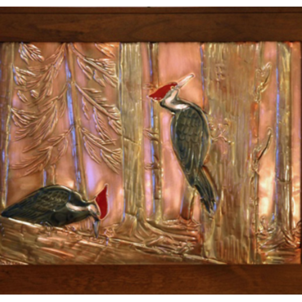 """- GREG HENTZI FRAMED COPPER ETCHING """"PILEATED WOODPECKERS"""""""