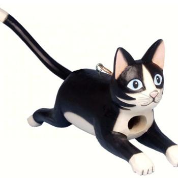 - SONGBIRD ESSENTIALS BOBBO LEAPING BLACK & WHITE CAT BIRDHOUSE