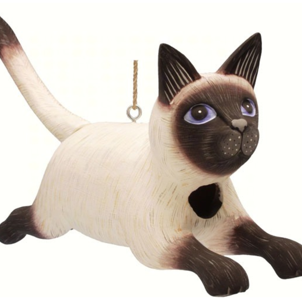 - SONGBIRD ESSENTIALS BOBBO LEAPING SIAMESE CAT  BIRD HOUSE