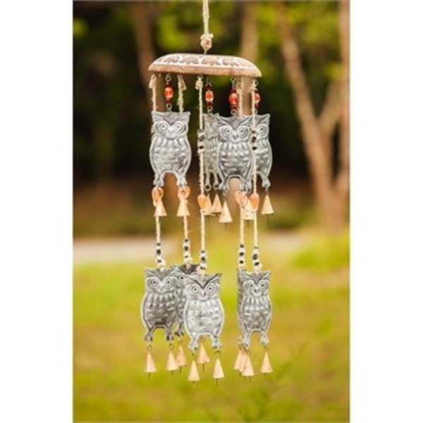 - EVERGREEN OWL GARDEN BELLS WINDCHIMES