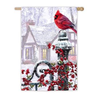 - EVERGREEN WINTER CARDINAL SATIN ESTATE FLAG