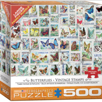 - EUROGRAPHICS BUTTERFLIES VINTAGE STAMPS PUZZLE 500 PC.