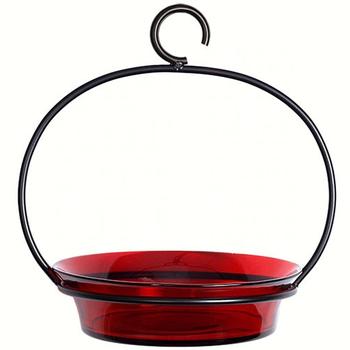 - COURONNE CO CUBAN GLASS BOWL BIRD BATH RED
