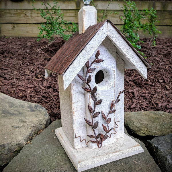 - NATURE CREATIONS BARN WOOD BIRD HOUSE W/TIN ROOF #04 WHITE