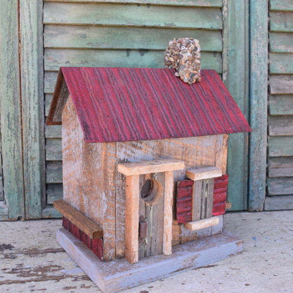 - NATURE CREATIONS BARN WOOD BIRD HOUSE W/TIN ROOF #24 RED ROOF