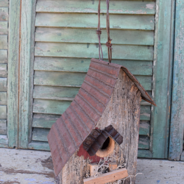 - NATURE CREATIONS BARN WOOD BIRD HOUSE ANGLED ROOF WITH TIN #45 NATURAL