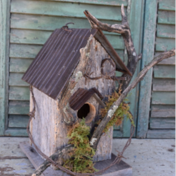 - NATURE CREATIONS BARN WOOD RUSTIC BIRD HOUSE #46 NATURAL