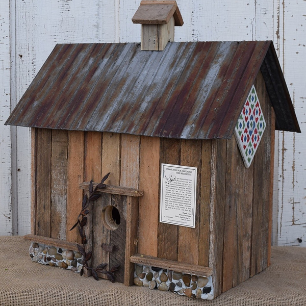 - NATURE CREATIONS BARN WOOD BIRD HOUSE W/TIN ROOF #71 NATURAL