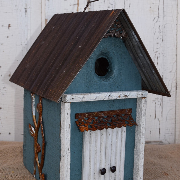 - NATURE CREATIONS BARN WOOD HANGING HOUSE W/TIN ROOF #17 STEEL BLUE
