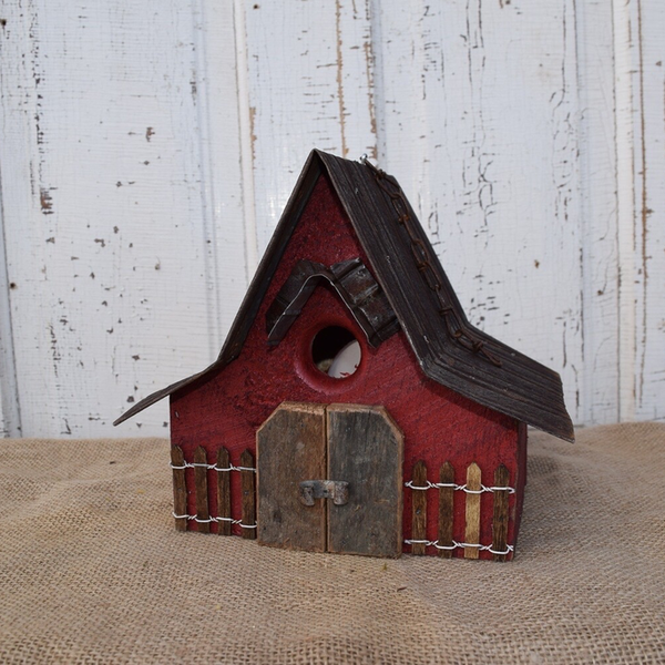 - NATURE CREATIONS BARN WOOD HANGING HOUSE W/TIN ROOF #28 RED