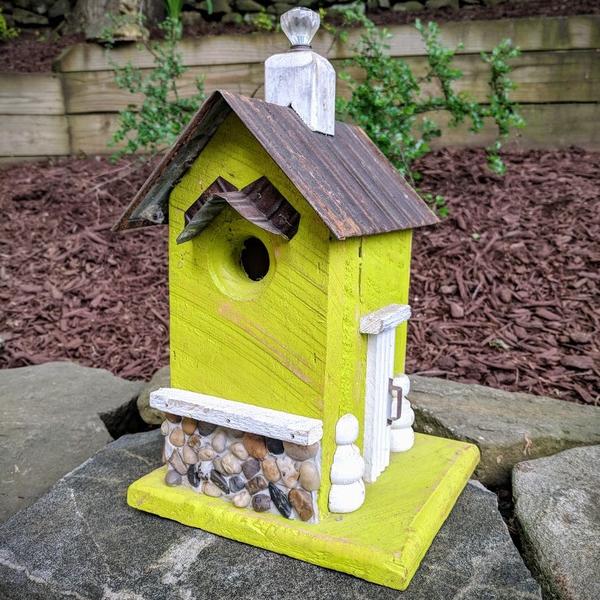 - NATURE CREATIONS BARN WOOD BIRD HOUSE W/TIN ROOF #52 LIME GREEN