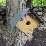 - NATURE CREATIONS BARN WOOD BIRD HOUSE W/TIN ROOF #70 MUSTARD