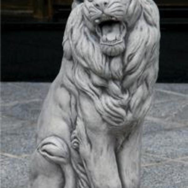 "- MASSARELLIS STONE 24"" SITTING LION RIGHT"