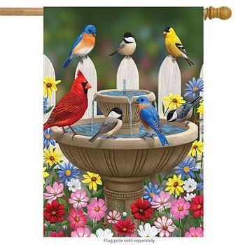 - BRIARWOOD LANE BIRD BATH GATHERING  ESTATE FLAG