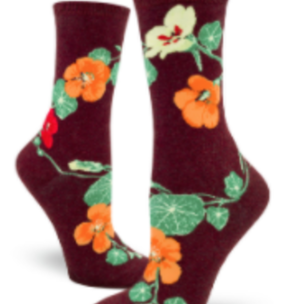 - MODSOCK NASTURNIUMS CREW SOCKS HEATHER BRICK