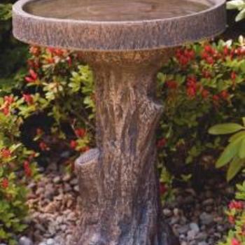 - MASSARELLIS STONE TREE STUMP BIRD BATH