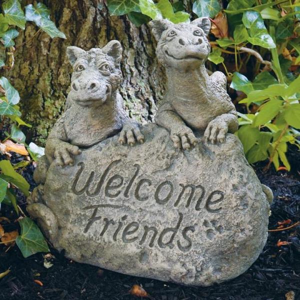 - MASSARELLIS STONE WELCOME FRIENDS DRAGONS GARDEN STONE