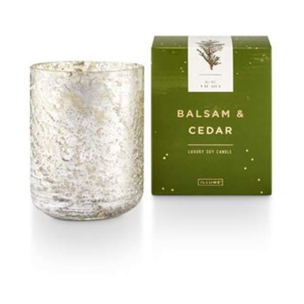 - ILLUME SOY CANDLES BALSAM & CEDAR SMALL LUXE SANDED MERCURY GLASS CANDLE