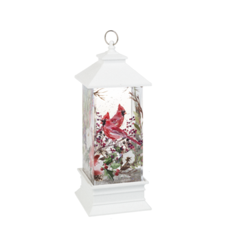 GANZ LIGHT UP CARDINAL & FLOWERS SHIMMER LANTERN