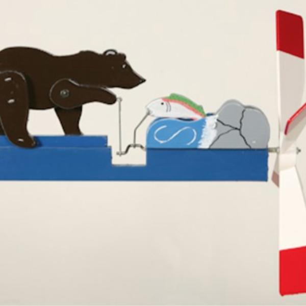 -WALSTON WOODCRAFT BLACK BEAR FISHING WHIRLYGIG