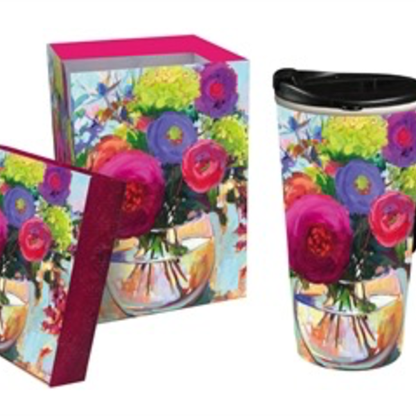 - EVERGREEN FLOWER SHOP CERAMIC TRAVEL MUG